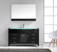 "Virtu USA Ava 55"" Single Bathroom Vanity Cabinet Set in Espresso w/ Tempered Glass Counter-Top"