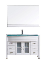 "Virtu USA Ava 48"" Single Bathroom Vanity Set in White w/ Tempered Glass Counter-Top"