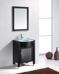 "Virtu USA Ava 24"" Single Bathroom Vanity Cabinet Set in Espresso w/ Tempered Glass Counter-Top"