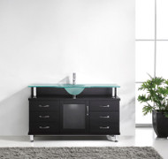 "Virtu USA Vincente 55"" Single Bathroom Vanity in Espresso w/ Frosted Tempered Glass Counter-Top"