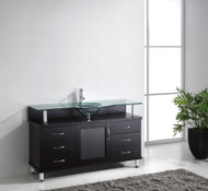 "Virtu USA Vincente 55"" Single Bathroom Vanity Cabinet in Espresso w/ Tempered Glass Counter-Top"