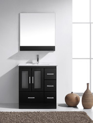 "Virtu USA Zola 30"" Single Bathroom Vanity Cabinet Set in Espresso w/ Ceramic Counter-Top"
