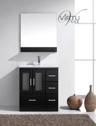 "Virtu USA Zola 30"" Single Bathroom Vanity Cabinet Set in Espresso w/ White Stone Counter-Top"