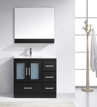 "Virtu USA Zola 36"" Single Bathroom Vanity Cabinet Set in Espresso w/ Ceramic Counter-Top"