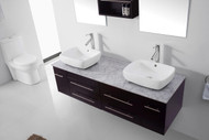 "Virtu USA Augustine 59"" Double Bathroom Vanity Set in Espresso w/ Italian Carrara White Marble Counter-Top"
