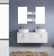 "Virtu USA Enya 59"" Double Bathroom Vanity Cabinet Set in White w/ Rubberwood Counter-Top"