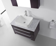 "Virtu USA Ivy 32"" Single Bathroom Vanity Cabinet Set in Espresso w/ Italian Carrara White Marble Counter-Top"