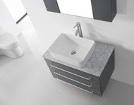 "Virtu USA Ivy 32"" Single Bathroom Vanity Cabinet Set in Grey w/ Italian Carrara White Marble Counter-Top"