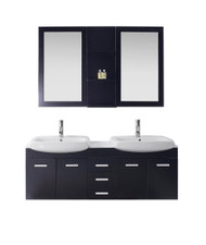 "Virtu USA Ophelia 59"" Double Bathroom Vanity Cabinet Set in Espresso w/ White Artificial Stone Counter-Top"
