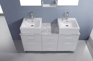 "Virtu USA Maybell 56"" Double Bathroom Vanity Cabinet Set in White w/ Italian Carrara White Marble Counter-Top"