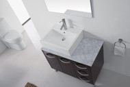 "Virtu USA Tilda 36"" Single Bathroom Vanity Cabinet Set in Espresso w/ Italian Carrara White Marble Counter-Top"