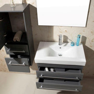 "Virtu USA Antonio 29"" Single Bathroom Vanity Cabinet Set in Grey w/ Ceramic Counter-Top"