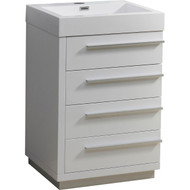 "Virtu USA Bailey 24"" Single Bathroom Vanity Cabinet in Gloss White w/ Polymarble Counter-Top"