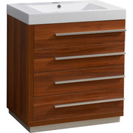 "Virtu USA Bailey 30"" Single Bathroom Vanity Cabinet in Plum w/ Polymarble Counter-Top"