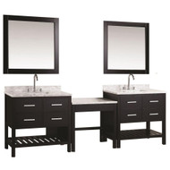 "Design Element DEC077AX2_MUT | Two London 36"" Single Sink Vanity Set in Espresso with One Make-up table in Espresso"