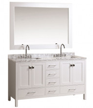 "Design Element DEC082A-W | London 60"" Double Sink Vanity Set in White Finish"