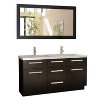 "Design Element J60-DS | Moscony 60"" Double Sink Vanity Set in Espresso and Matching Mirror in Espresso"