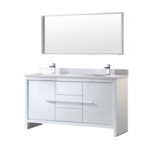 "Fresca Allier 60"" White Modern Double Sink Bathroom Vanity w/ Mirror"