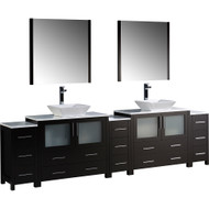 "Fresca Torino 108"" Espresso Modern Double Sink Bathroom Vanity w/ 3 Side Cabinets & Vessel Sinks"