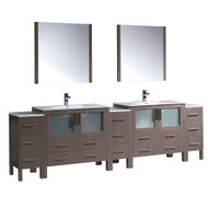"Fresca Torino 108"" Gray Oak Modern Double Sink Bathroom Vanity w/ 3 Side Cabinets & Integrated Sinks"