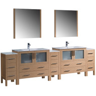 "Fresca Torino 108"" Light Oak Modern Double Sink Bathroom Vanity w/ 3 Side Cabinets & Integrated Sinks"