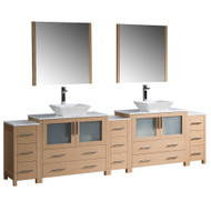 "Fresca Torino 108"" Light Oak Modern Double Sink Bathroom Vanity w/ 3 Side Cabinets & Vessel Sinks"