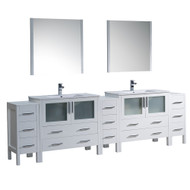 "Fresca Torino 108"" White Modern Double Sink Bathroom Vanity w/ 3 Side Cabinets & Integrated Sinks"
