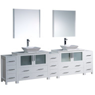 "Fresca Torino 108"" White Modern Double Sink Bathroom Vanity w/ 3 Side Cabinets & Vessel Sinks"