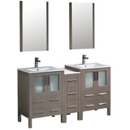 "Fresca Torino 60"" Gray Oak Modern Double Sink Bathroom Vanity w/ Side Cabinet & Integrated Sinks"