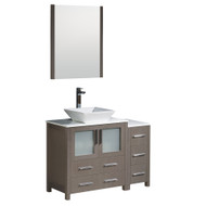 "Fresca Torino 42"" Gray Oak Modern Bathroom Vanity w/ Side Cabinet & Vessel Sink"