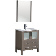 "Fresca Torino 30"" Gray Oak Modern Bathroom Vanity w/ Integrated Sink"