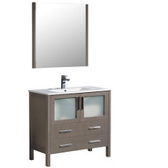 "Fresca Torino 36"" Gray Oak Modern Bathroom Vanity w/ Integrated Sink"