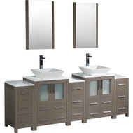 "Fresca Torino 84"" Gray Oak Modern Double Sink Bathroom Vanity w/ 3 Side Cabinets & Vessel Sinks"