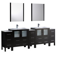 "Fresca Torino 96"" Espresso Modern Double Sink Bathroom Vanity w/ 3 Side Cabinets & Integrated Sinks"