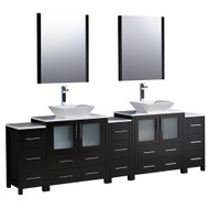 "Fresca Torino 96"" Espresso Modern Double Sink Bathroom Vanity w/ 3 Side Cabinets & Vessel Sinks"