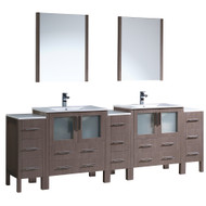 "Fresca Torino 96"" Gray Oak Modern Double Sink Bathroom Vanity w/ 3 Side Cabinets & Integrated Sinks"