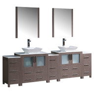 "Fresca Torino 96"" Gray Oak Modern Double Sink Bathroom Vanity w/ 3 Side Cabinets & Vessel Sinks"
