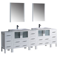 "Fresca Torino 96"" White Modern Double Sink Bathroom Vanity w/ 3 Side Cabinets & Integrated Sinks"