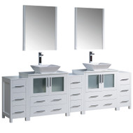 "Fresca Torino 96"" White Modern Double Sink Bathroom Vanity w/ 3 Side Cabinets & Vessel Sinks"