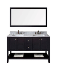 "Virtu USA Winterfell 60"" Double Bathroom Vanity Cabinet Set in Espresso"