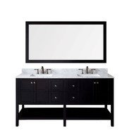"Virtu USA Winterfell 72"" Double Bathroom Vanity Cabinet Set in Espresso"