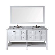 "Virtu USA Winterfell 72"" Double Bathroom Vanity Cabinet Set in White"