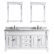 "Virtu USA Huntshire 72"" Double Bathroom Vanity Set in White"