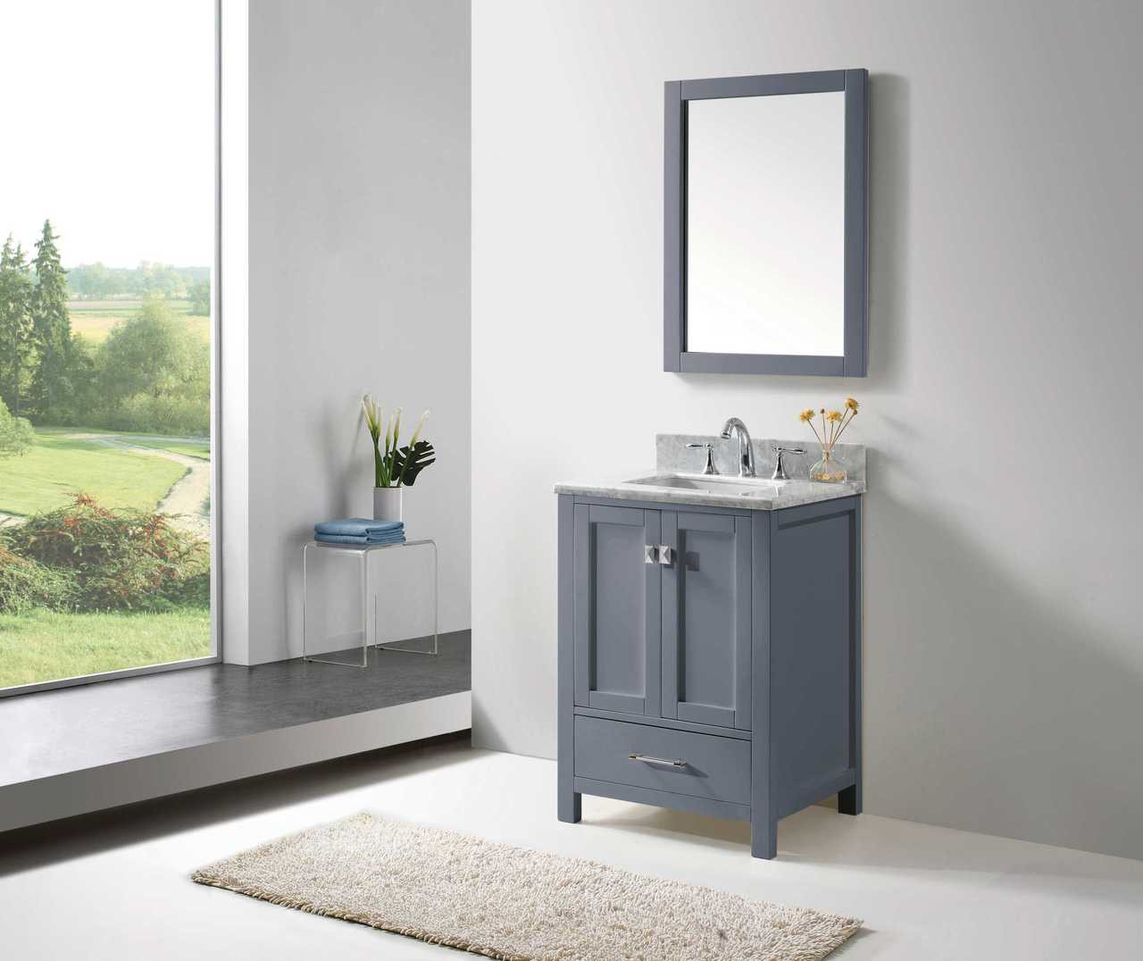 "Virtu USA Caroline Avenue 24"" Single Bathroom Vanity Cabinet Set in Grey w/ Italian Carrara White Marble Counter-Top 