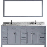 "Virtu USA Caroline Parkway 72"" Double Bathroom Vanity Cabinet Set in Grey"