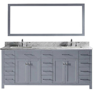 "Virtu USA Caroline Parkway 78"" Double Bathroom Vanity Cabinet Set in Grey"