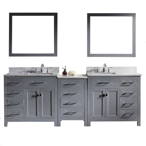 "Virtu USA Caroline Parkway 93"" Double Bathroom Vanity Cabinet Set in Grey"