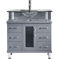 "Virtu USA Vincente 32"" Single Bathroom Vanity Cabinet in Grey"