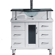 "Virtu USA Vincente 32"" Single Bathroom Vanity Cabinet in White"