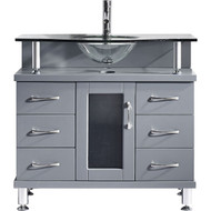 "Virtu USA Vincente 36"" Single Bathroom Vanity Cabinet in Grey"